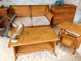 Unusual 2 seater Settee and 2 chairs with 2 matching tables in BAMBOO Colonial style