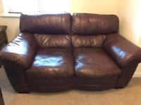 3 and 2 seater Cousins brown leather sofas!