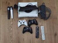 Microsoft XBOX 360 20GB White + Kinect and ROCKBAND guitar+drums kit