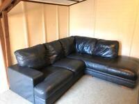 ** Large full leather ~ Grey blue ~ Reid's corner Sofa Suite