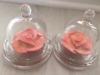 Pink flower in glass trinkets- Wedding 14 pieces