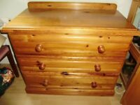 Chest of drawers, solid pine, very sturdy and chunky, good drawers support