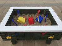 Kids Play Area Activity Standing Sandpit Sand Pit With Sand Cover Buckets Spades Etc