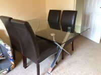 Glass Dining Room Table with Four Chairs