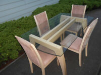 Wooden glass dining table with 4 chairs, can deliver
