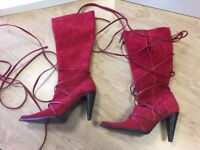 Kitty Kalloo seriously sexy red suede boots. Size 40 Unworn