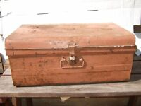 Tin trunk. Old , useful storage container.