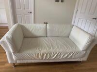 Free 2 seater white leather sofa