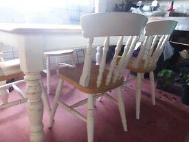 Shabby Chic Pine Farmhouse Table and four chairs F&B Cornforth White