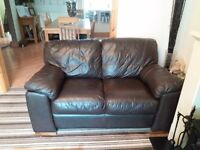 2& 3 seater brown leather sofas from a smoke free home. £100 buyer to collect asap