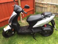 Kymco agility 50cc. Max speed 40 mph. 4 years old. 3100 miles. 3 previous owners.