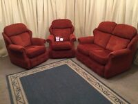 G PLAN 3 Piece Suite - High Wing Back 2 Seater Sofa & 2 Armchairs