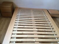 Really sturdy, solid, wooden double bed and bedside table