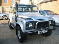 Land Rover 90 Td5 County station wagon. 3 door 6 seater in metallic silver. 2002