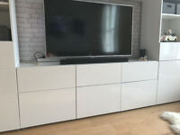 Living room storage unit with drawers 180 x 40 x 74 cm White/selsviken high-gloss/white