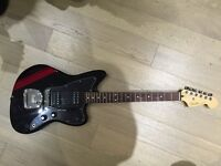 Fender FSR Special Edition Blacktop Jazzmaster HH (Black with Candy Apple Red Racing Stripe)