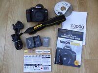 Nikon D3000 DSLR camera BODY - 1,727 shutter releases