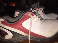 Red. White and black golf shoes size uk3