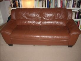 For Sale - Brown, two-seater, leather effect sofa