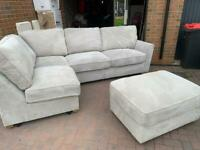 BRAND NEW Grey Corner Sofa w/ Footstool- Oak Furniture Land Ex Display Pristine condition