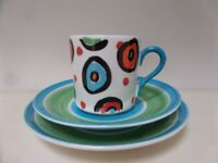 Repeat Repeat Contemporary Modern Art Fine Bone China Demitasse,Expresso Cup saucer,side plate MINT