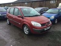 2006 RENAULT MEGANE SCENIC IN VGCONDITION SUNROOF ELECTRICS MOT GOOD DRIVER ALLOYS AIR CD ANYTRIAL