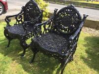 Antique cast iron garden chairs