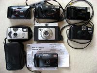Job lot of seven compact film cameras - Canon, Nikon, Kodak, Ilford & Minolta - Spares or repairs