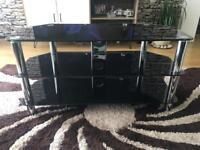 Serano Glass TV Stand with Shelves