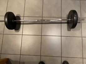 Heavy EZ Curl Bar with 10kg weights. 2 x 5kg