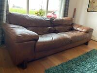 Brown leather sofa, 3 to 4 seater