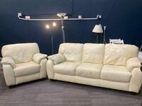 Cream leather sofa and armchair set m
