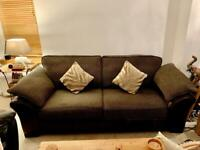 Sofa and arm chair brown faux leather & fabric