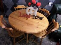 Beautiful Round Pine Dining Table & 4 Kitchen Chairs - Delivery Available