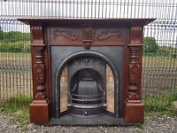 103 Cast Iron Fireplace Surround Fire Tiled Insert Victorian style Arch Arched
