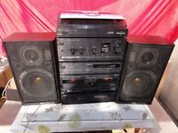 Vintage Japanese Akai 6 pieces system T/t Amp Cd Tape and 2 original speakers