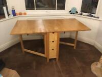 IKEA Wooden Gate Leg Drop Leaf Fold Away Dining Table Storage