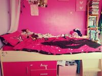 Girls pink and pine cabin beds