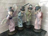 LLADRO ORIENTAL GEISHA FIGURINES-SET OF 4 (ALL RETIRED)