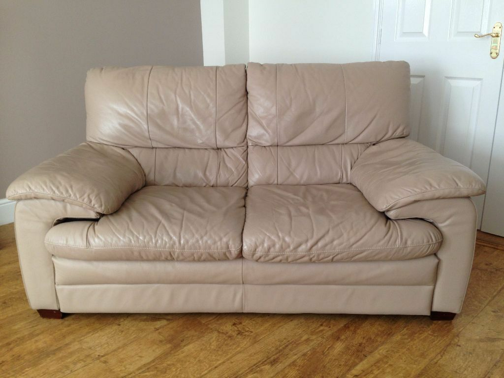 Soft Leather Sofas Only 5 Yrs Old 2 Seat Mushroom Colour