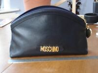 MOSCHINO MAKE-UP BAG IN SOFT-BLACK LEATHER - IN EXCELLENT CONDITION