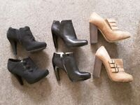 Womens ladies leather shoes boots ankle heels size 4