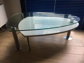 White gloss and glass coffee table