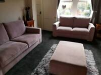 SOFA - 3 SEATER, 2 SEATER AND FOOTSTOOL - BARGAIN