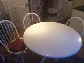 Dining table and 3 chairs - white