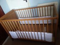 Ikea Cot bed can convert to a toddler bed