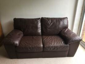 Two seater leather Ikea sofa