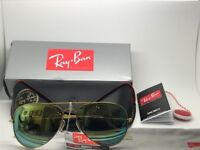 Ray-Ban Aviator Brand New Gold Sunglasses with green Lenses and Leather Case and all Boxing