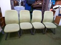 4 cream metal framed chairs with white/cream washable removable covers