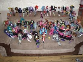 MONSTER HIGH DOLL COLLECTION SOME RARE WITH CARS AND SCOOTER